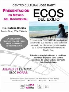 JUEVES 21 DE MAYO, PRESENTACIÓN DOCUMENTAL, ECOS DEL EXILIO, 19 HORAS